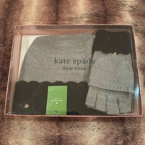 Kate Spade Scallop Beanie Hat and Mittens Box Set